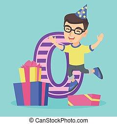 Caucasian boy celebrating first birthday. - Little caucasian...