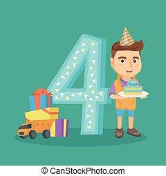 Caucasian boy celebrating fourth birthday.