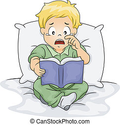 Caucasian Boy Crying Over a Story Book - Illustration of a...