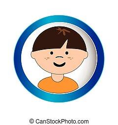 caucasian boy face with short hair in circular frame