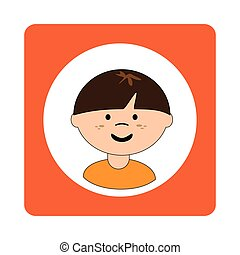 caucasian boy face with short hair in square frame