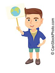 Caucasian boy holding a placard with planet.