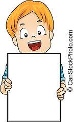 Caucasian Boy Holding Board - Illustration of a Cute Little ...