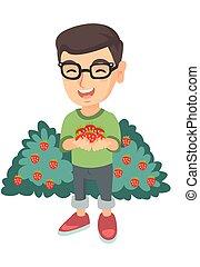 Caucasian boy holding fresh strawberries in hands.