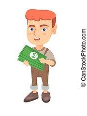 Caucasian boy holding money in hands.