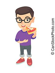 Caucasian boy in glasses eating tasty pizza.