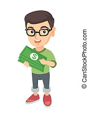 Caucasian boy in glasses holding money in hands.