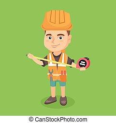Caucasian boy in hard hat using a measuring tape.