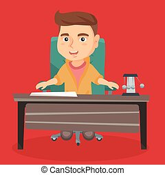 Caucasian boy playing the role of office worker.