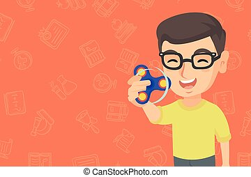 Caucasian boy playing with fidget spinner.