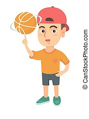 Caucasian boy spinning basketball ball on finger.