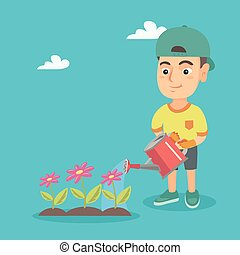 Caucasian boy watering flowers in the garden.