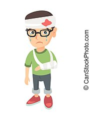 Caucasian boy with broken arm and bandaged head. - Caucasian...
