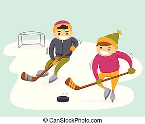 Caucasian boys playing hockey on outdoor rink.