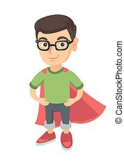 Caucasian brave boy wearing superhero costume.