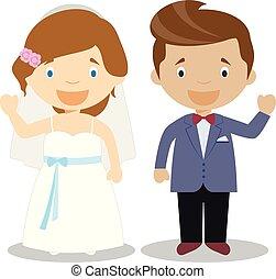 Caucasian bride and mestizo bridegroom Interracial newlywed couple in cartoon style Vector illustration