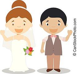 Caucasian bride and oriental bridegroom Interracial newlywed couple in cartoon style Vector illustration
