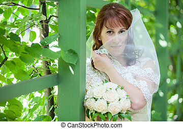 Caucasian bride in white dress covering with veil