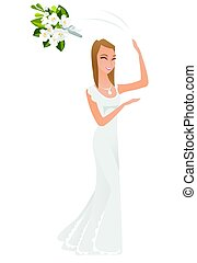 Caucasian bride tossing the bouquet of flowers.