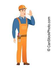 Caucasian builder calling for help.