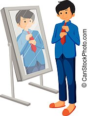 Caucasian business man adjusting tie in front of the mirror...