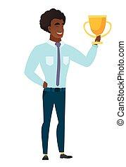 Caucasian business man holding a trophy. - Caucasian...