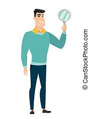 Caucasian business man holding hand mirror. Full length of...