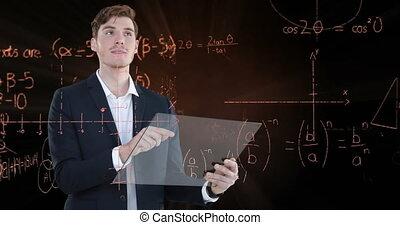 Caucasian business man touching a screen with mathematics ...