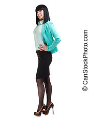 caucasian business woman standing, full length portrait isolated on white