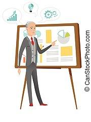 Caucasian businessman giving business presentation - Senior...