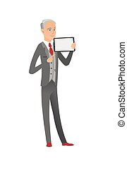 Caucasian businessman holding tablet computer.