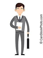 caucasian businessman icon - flat design caucasian...
