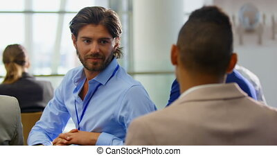 Caucasian businessman interacting with executives 4k - Side ...