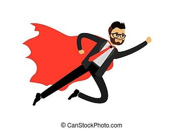 Caucasian businessman looking like Super hero flying
