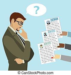Caucasian Businessman makes a choice between CV candidates, ...