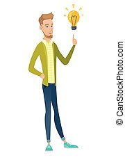 Caucasian businessman pointing at idea lightbulb. -...