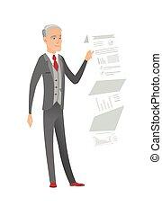 Caucasian businessman presenting business report. - Smiling...