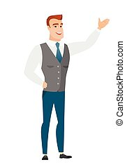 Caucasian businessman showing a direction.