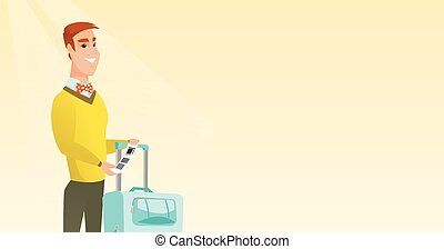 Caucasian businessman showing luggage tag. - Happy business...