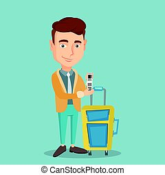 Caucasian businessman showing luggage tag. - Business class...