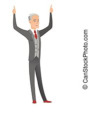 Caucasian businessman standing with raised arms up
