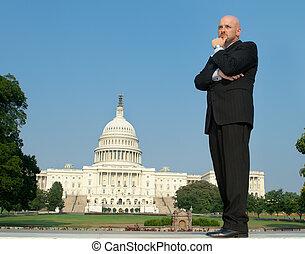 Caucasian Businessman Suit Thinking US Capitol