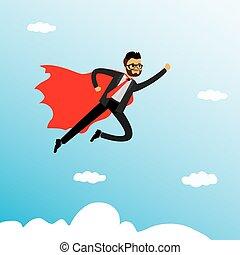 Caucasian businessman super hero,