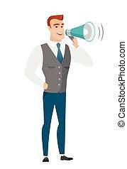Caucasian businessman talking into loudspeaker. - Caucasian...