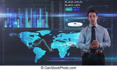 Caucasian businessman talking with world map and curves background