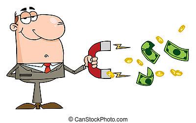 Caucasian Businessman - Happy Businessman Using A Magnet To...
