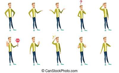 Caucasian businessman vector illustrations set. - Young...