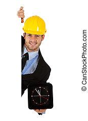 Caucasian businessman, wall clock.