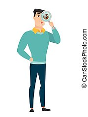 Caucasian businessman with magnifying glass.