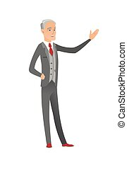 Caucasian businessman with outstretched hand. - Senior...
